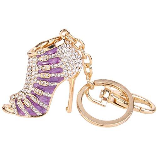 EVER FAITH Valentines' Gifts High Heel Austrian Crystal Purple Enamel Keychain Gold-Tone Clear
