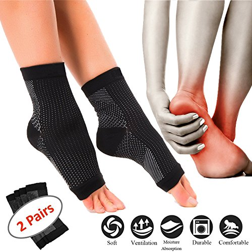 2 Pairs Plantar Fasciitis Compression Socks for Men and Women with Ankle Brace, Arch Support Socks to Edema, Fast Pain Relief for Travel, Running (Black - 2 Pairs, Small/Medium) by Marsh Wilcox