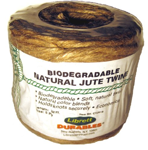 Librett Biodegradable Natural Jute Twine, 252 FT - 16oz - 5 Ply