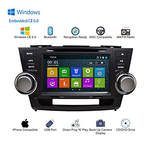 GPS DVD Player In Dash OE Fitment Navigation Bluetooth Radio USB SD Unit for 2008-2012 Toyota Highlander