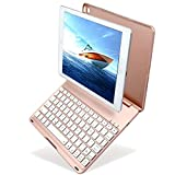 Image of New iPad 9.7 inch 2017 Keyboard Case, KIWETASO Ultra-Thin Bluetooth Keyboard Folio Case Cover with 7 Colors LED Backlit (5th Generation, 2017) and iPad Air(iPad 5,2013),Gold