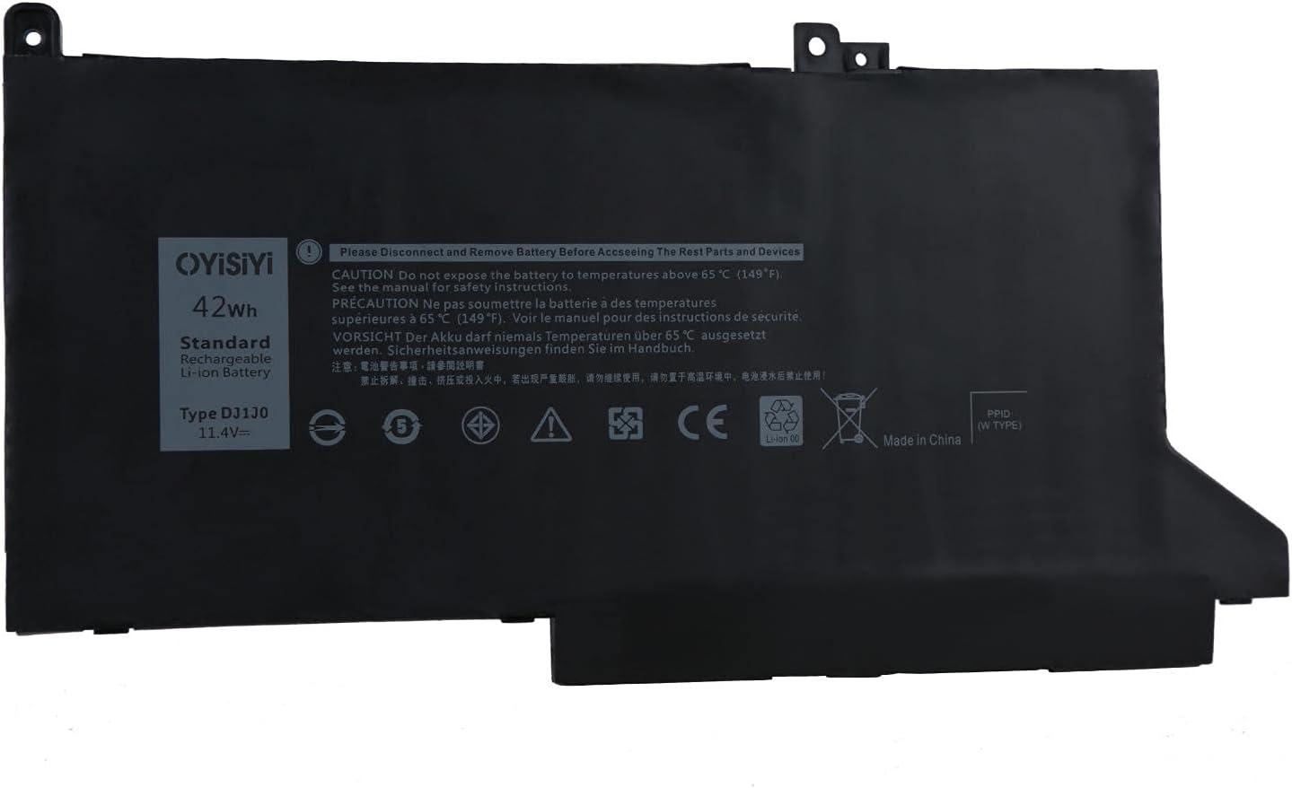 OYISIYI DJ1J0 Laptop Battery for Dell Latitude 12 7280 7290 E7280 E7290 13 7380 7390 E7380 E7390 14 7480 7490 E7480 E7490 Notebook 451-BBZL PGFX4 ONFOH 0G74G 11.4V 42Wh