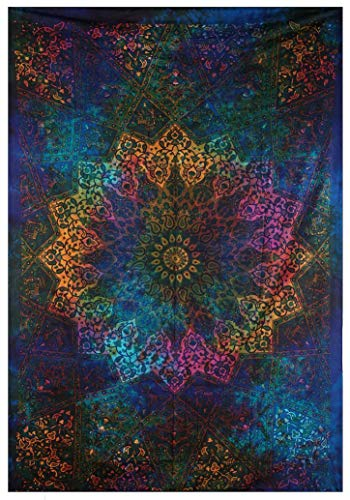(Tapestries Intricate Blue Tie Dye Star Design Indian Bedspread Twin Tapestry Hippie Wall Decor Mandala Bohemian Tapestry Psychedelic Tapestry Ethnic Decorative)