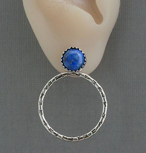 Sterling silver hoop ear jackets front back double sided earrings genuine denim blue lapis lazuli stud post