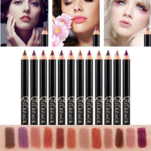 DZT1968 12pcs Lot Set 14.2x0.7cm 12 Colors Professional Waterproof no-fade Makeup Waterproof Lip Liner Pencil (Best Lip Liner For Overlining)