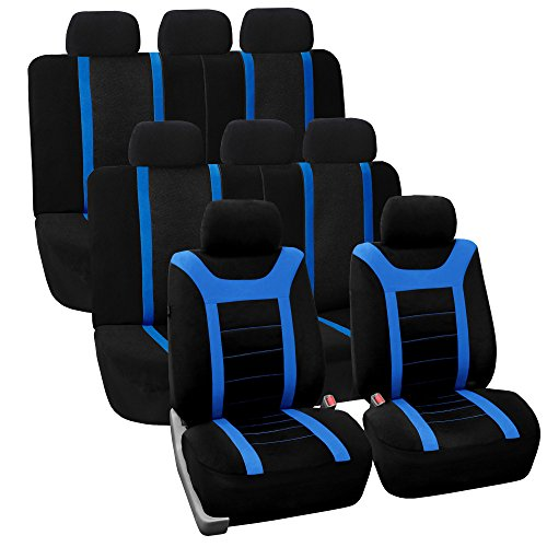 FH GROUP FH-FB070128 Three Row Set Sports Fabric Car Seat Covers, Airbag compatible and Split Bench (2 Bucket Covers, 2 Solid Bench Covers), Blue/ Black- Fit Most Car, Truck, Suv, or Van