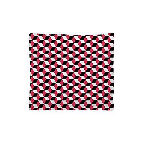 Indoor/Outdoor Square Seat Cushion,Comfort Memory Foam Chair Pad,Abstract,Geometric Cube Prisms Flat Ornament Retro Minimalist Fashion Grid Pattern Decorative,White Red Black,Fit for Most of chai