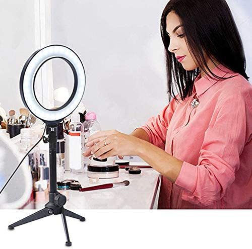 Hiqusc LED Ring Light Tripod Stand /& Phone Holder for Live Streaming /& YouTube Video Dimmable Desk Makeup Ring Light