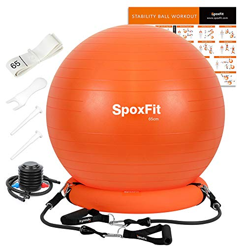 SpoxFit Anti-Burst Exercise Ball Super Strong Holds 660lbs, Home Gym Bundle. Set Includes Resistance Bands, Stable Base, Workout Poster. Perfect for Office Chair, Yoga, Birthing