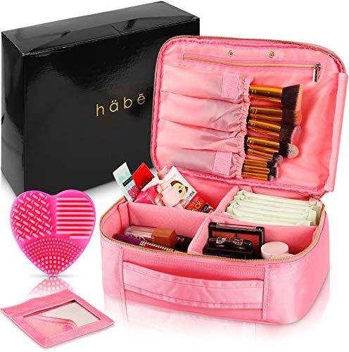 habe Travel Makeup Bag with Mirror - Premium Vegan Designer Make Up Bag Organizer Train Case for Women – More Storage than 3 Cosmetic Bags, Make Up Bags or Make ()