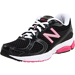 New Balance Women's W580 Running Shoe,Black/Pink,6 B US