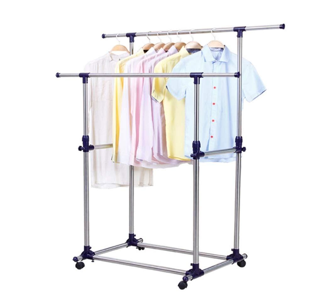 ダブルロッドステンレススチール衣類レール伸縮式バルコニーランドリー乾燥ラック B07KTY9N44