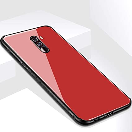 new photos 1a5ca 87f45 Thegiftkart Toughened Glass Back Case With Shockproof TPU Bumper Back Case  Cover For Xiaomi Poco F1 (Red)