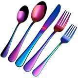 Rainbow Silverware Set, 20 Pieces Colorful Flatware Multicolor Titanium Stainless Steel Cutlery Tableware Set Service for 4, Mirror Finish