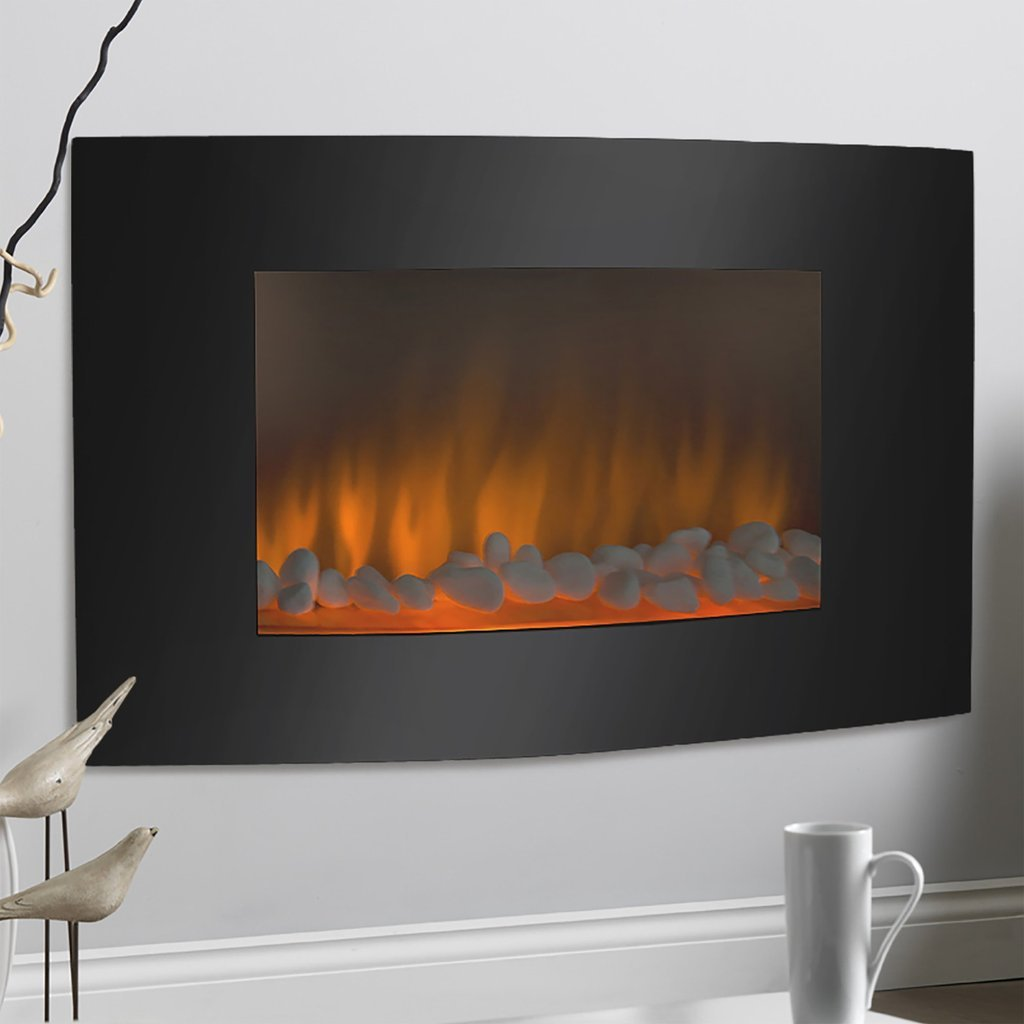 Fireplace Electric Heater Free Standing and Wall Mounted With Remote In Modern Black Design