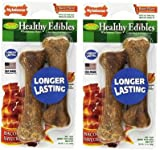 (2 Pack) Nylabone Healthy Edibles Dog Chew Bacon Flavored Treat Bones for Petite Dogs up to 15 Pounds, 2 Per Pack