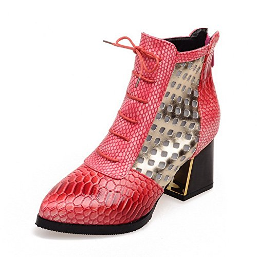Zipper Kitten Women's Boots Colors Low top Assorted Allhqfashion Red PU Heels qR1xSC