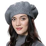 ENJOYFUR Women Beret Hat Wool Knitted Cap Autumn Winter Hat (Dark Gray)