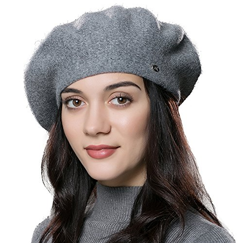 ENJOYFUR Women Beret Hat Wool Knitted Cap Autumn Winter Hat (Dark Gray) by ENJOYFUR