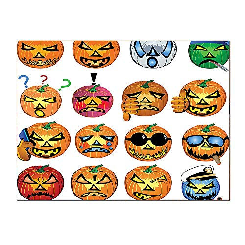 SATVSHOP Wall Art for Bedroom painting-24Lx24W-Carved Pumpkin with Emoji Fac Halloween Humor Hipster Monsters Harv Graphic Art Orange.Self-Adhesive backplane/Detachable Modern Decorative Art.]()