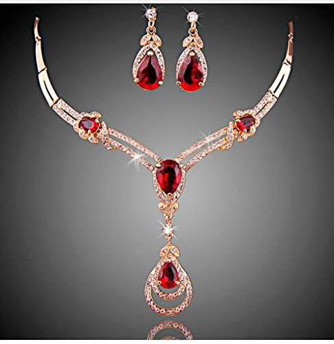 [Express$ african costume jewelry set 18k gold plated zircon crystal necklace and earrings set women bridal jewelry sets] (Express Costume)