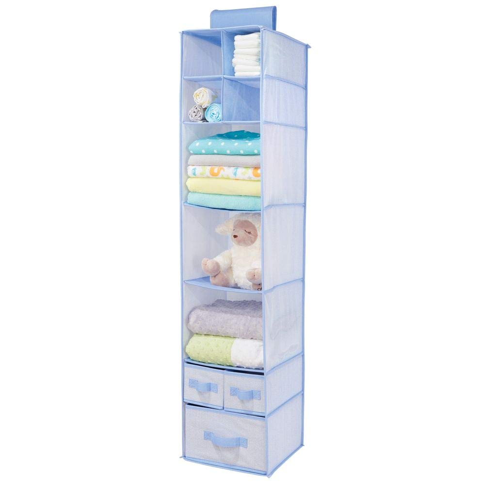 mDesign Soft Fabric Over Closet Rod Hanging Storage Organizer with 7 Shelves and 3 Removable Drawers for Child/Kids Room or Nursery - Herringbone Print - Blue MetroDecor 02136MDB