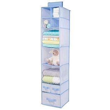 mDesign Armario colgante de fibra sintética – Organizador para armario de los niños con 7 estantes de tela y 3 cajones – Estantería para colgar y ...