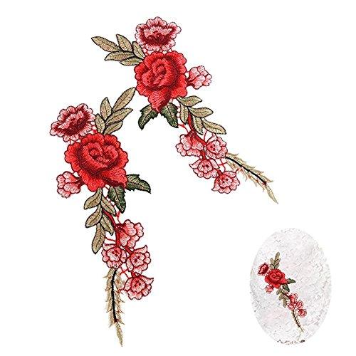 刺繍 アップリケ オシャレ 花模様  水溶性刺繍 縫製品 飾り素材 2枚セット
