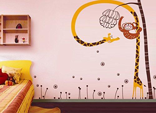 Cute Monkey Catches Banana Pop Decors PT-0120-Va Beautiful Wall Decal