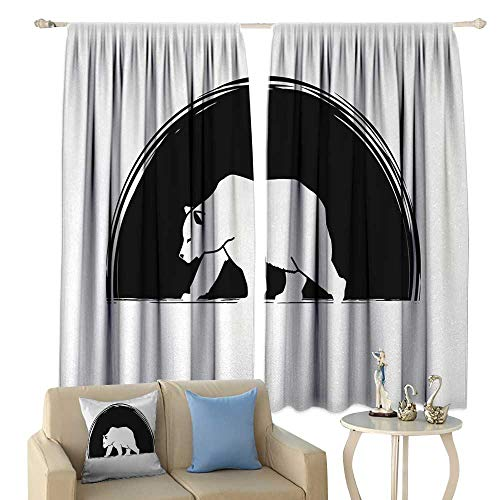 HoBeauty Animal, Waterproof Window Curtain, Big Polar Bear Walking Side View Furry Creature Arctic Mammal Illustration, Decorative Curtains for Living Room,(W84 x L72 Inch, Black and -