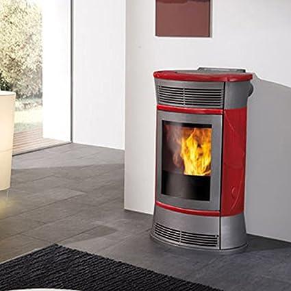 Poêle à granulé design 11kW céramique rouge