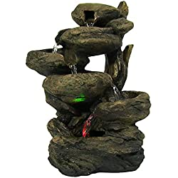 Sunnydaze 6-Tier Staggered Rock Falls Tabletop Fountain with Colored LED Lights, 13.5 inch