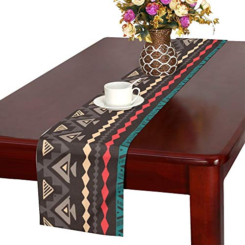 WUTMVING Dark Color Navajo Ethnic Table Runner, Kitchen Dining Table Runner 16 X 72 Inch for Dinner Parties, Events, Decor