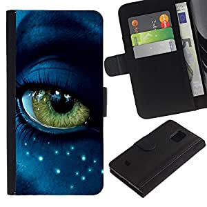LASTONE PHONE CASE / Lujo Billetera de Cuero Caso del tirón Titular de la tarjeta Flip Carcasa Funda para Samsung Galaxy S5 Mini, SM-G800, NOT S5 REGULAR! / Eye Alien Close Up Blue Green Stars Face