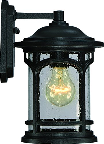 Luxury Rustic Outdoor Wall Light, Small Size: 11″H x 7″W, with Colonial Style Elements, Wrought Iron Design, High-End Black Silk Finish and Seeded Glass, UQL1100 by Urban Ambiance For Sale