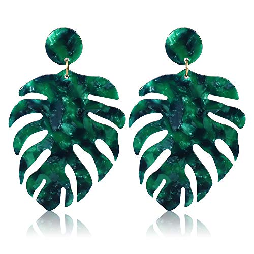 Acrylic Earrings for Women Drop Dangle Leaf Earrings Resin Minimalist Bohemian Statement Jewelry (Acrylic earrings Long Green)