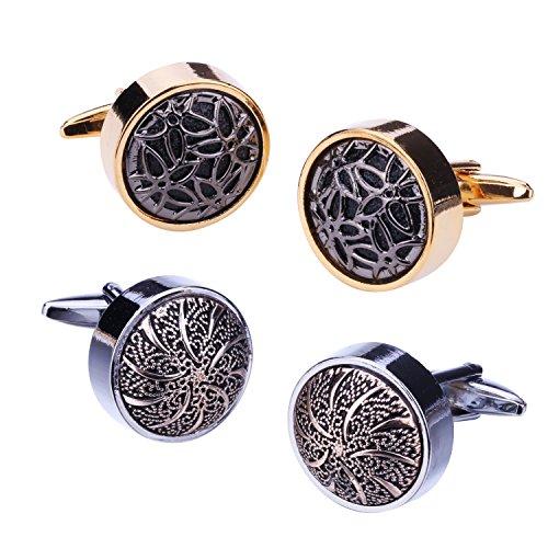 BodyJ4You 4PCS Cufflinks Button Shirt Men Circle Dome Flower Round Silvertone Jewelry Set Gift Box - Tone Two Cufflinks Personalized