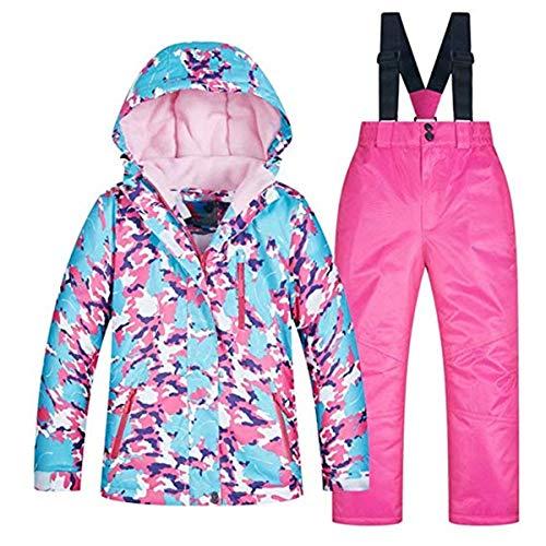 Baby Girls Kids Winter Warm Outdoor Mountain Waterproof Windproof Snowboarding Skiing Jackets with Snow Ski Bib Pants