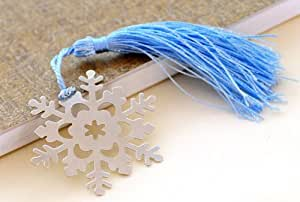 Different Styles of Metal Bookmarks with White Silk Tassel (Snow + blue tassel)