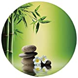 Round Rug Mat Carpet,Bamboo Spa Decor,Japanese Therapy Relaxation Stones Frangipani Flowers,,Flannel Microfiber Non-slip Soft Absorbent,for Kitchen Floor Bathroom