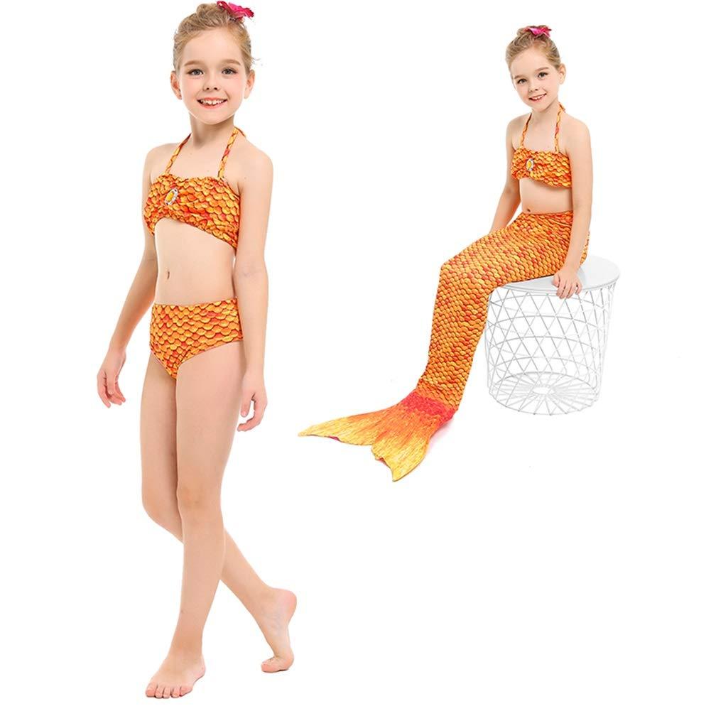 Orange 110cm MARYYUN Maillot De Bain Sirène Fille ,Nouveau Style Filles Cosplay Costume, Maillots De Bain Sirène Shell Maillot De Bain Ensembles(Plusieurs Couleurs Disponibles)
