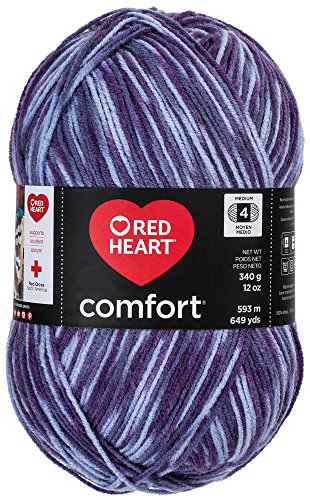 Red Heart Comfort Yarn, Purple Print