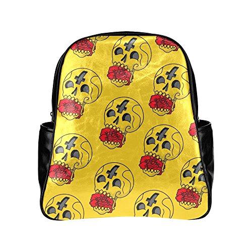 Custom-Wicked-Skull-PU-Leather-Student-School-Bag-Multi-pocket-Backpack