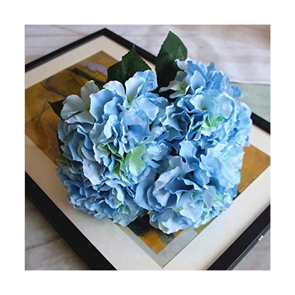 Shine-Co Artificial Hydrangea Flowers 5 Big Heads Bouquet Beautiful Flowers for Office Home Party Decoration (Light Blue)