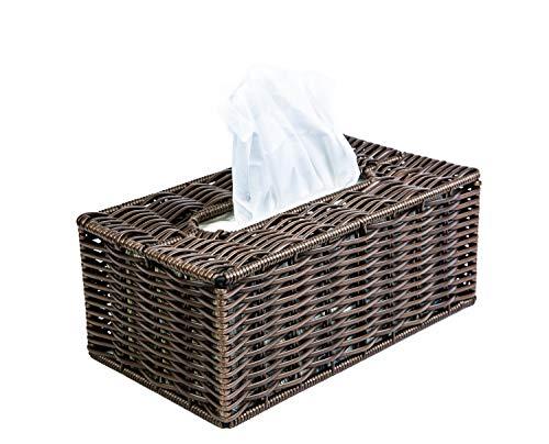 "Kovot Poly-Wicker Tissue Box Cover | Rectangular 9 3/4"" L x 5 5/8"" W x 4"" H Woven Polypropylene Tissue Box Cover"