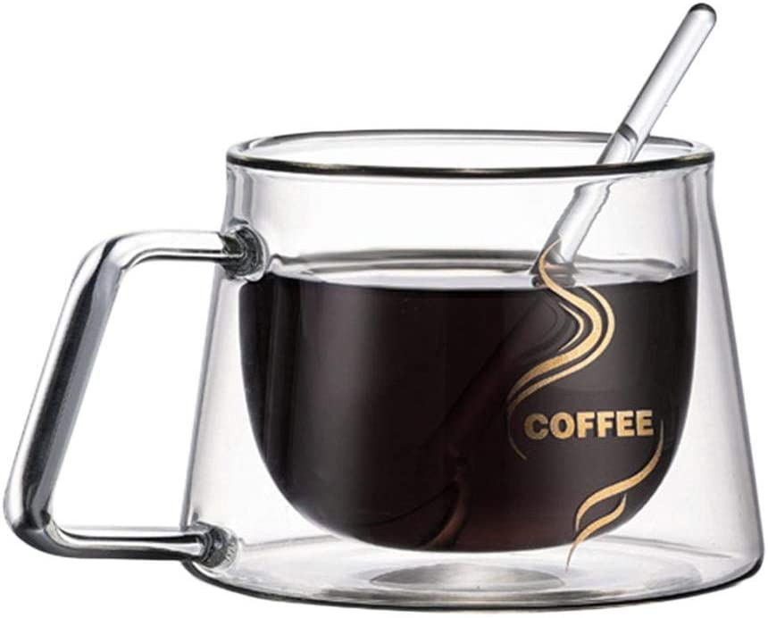 Cappuccino Clear Glass Double Wall Coffee Mug With Handle,Heat-Resistant Insulated Mugs For Espresso Tea Glass Coffee Mug,High-Borosilicate Water Cup Latte