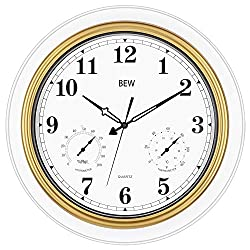 BEW Large Outdoor Clock 18 Inch Thermometer & Hygrometer Combo, Waterproof & Weather Resistant Function, Silent Garden Wall Clock for Patio/Pool/Lanai/Fence (Metal, Golden-White)