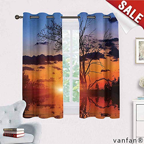 (Big datastore Apartment Decor Collection Curtain Bedroom,The Time When The Sun Disappears or Day Light Fades Image with Oak Tree Mirror Effect Curtains to Block Out Heat,Orange Blue W63 x L72)
