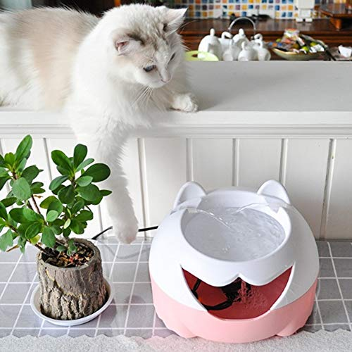Pink LHQ Pet Water Drinking Fountain,cat and Dog Drinking Water Basin Automatic Circulation Electric Mute Lighting at Night Cute Shape