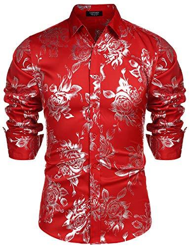 COOFANDY Men Fashion Hip Hop Luxury Design Flower Print Dress Prom Disco Shirt